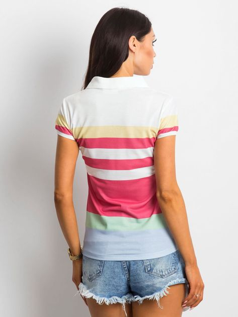 Biało-koralowa koszulka polo w paski                              zdj.                              2
