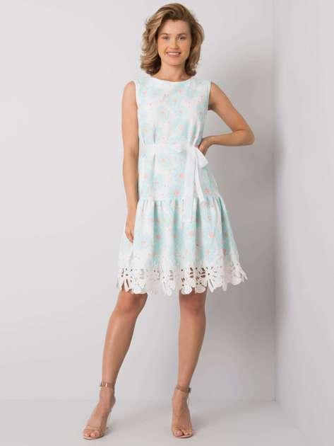 Biało-miętowa sukienka w kwiatowy wzór Rousey