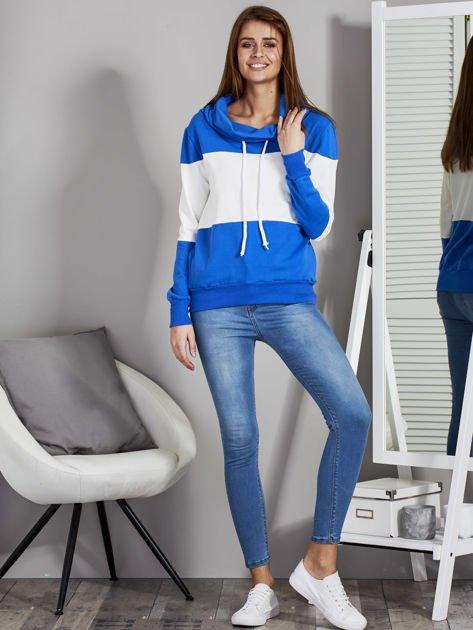 Biało-niebieska modułowa bluza damska z troczkami                              zdj.                              4