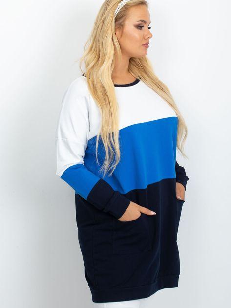 Biało-niebieska tunika plus size Bease                              zdj.                              3