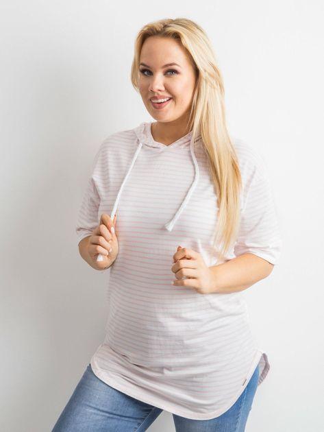 Biało-różowa bluzka w paski                               zdj.                              5