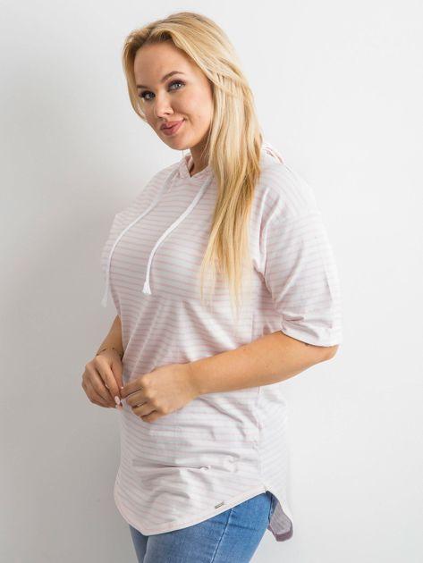 Biało-różowa bluzka w paski                               zdj.                              7
