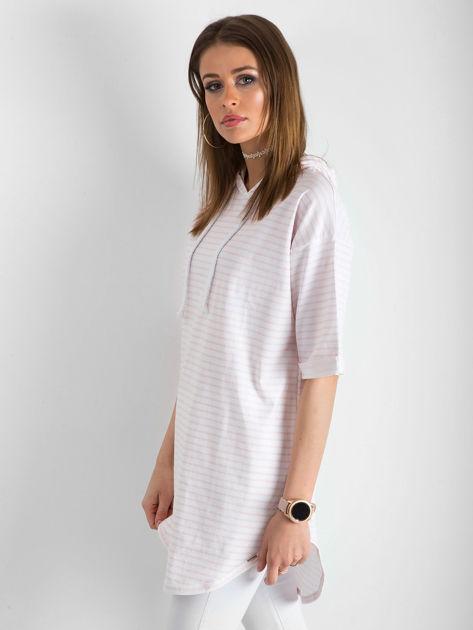 Biało-różowa bluzka w paski                               zdj.                              3