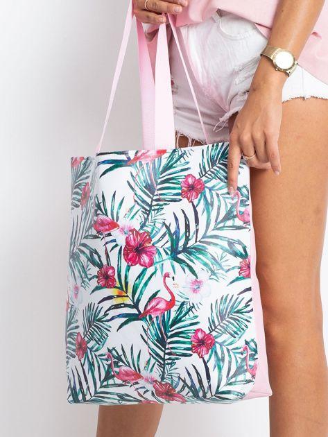 Biało-różowa torba z nadrukiem                              zdj.                              3
