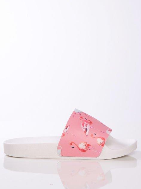 Biało-różowe klapki z ozdobnym nadrukiem w flamingi                                   zdj.                                  2