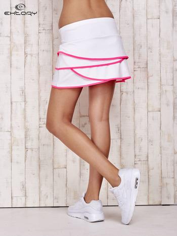 Biało-różowe spodenki spódniczka tenisowa z falbankami                                  zdj.                                  2