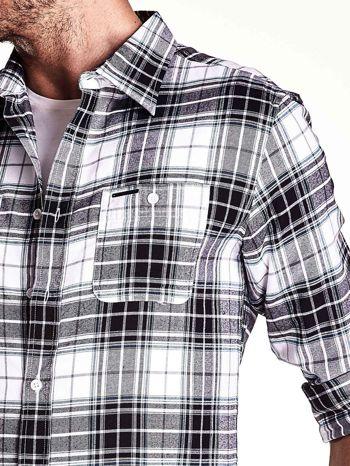 Biało-szara koszula męska motyw kratki                                  zdj.                                  6