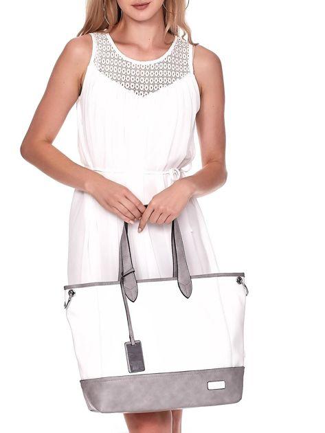 Biało-szara torba shopper z eko skóry z odpinanym paskiem                              zdj.                              1