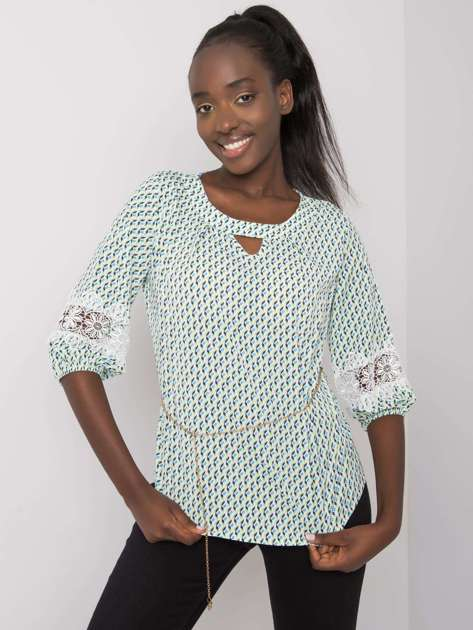 Biało-zielona bluzka we wzory Jazmin