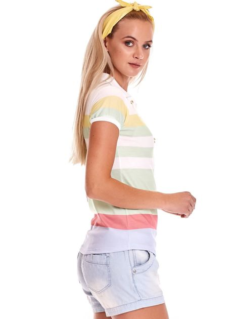 Biało-zielona koszulka polo w paski                              zdj.                              6