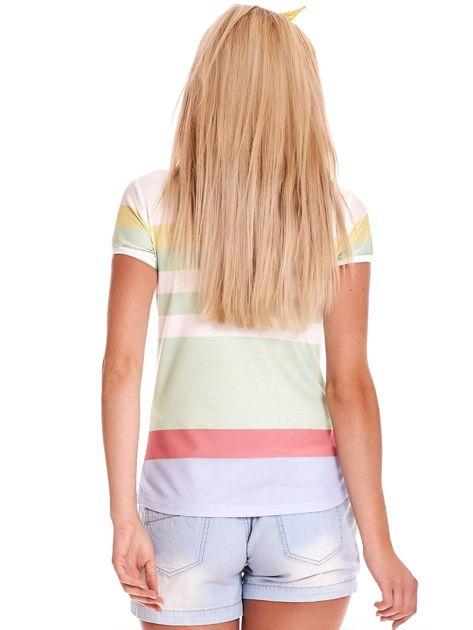 Biało-zielona koszulka polo w paski                              zdj.                              3