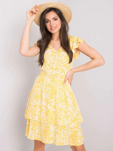 Biało-żółta sukienka Athena SUBLEVEL