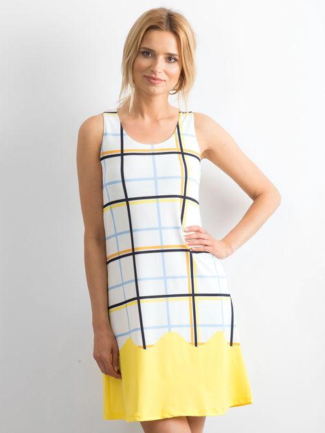 Biało-żółta sukienka w kolorową kratę                              zdj.                              1