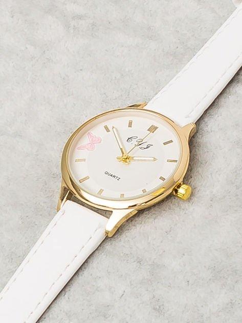 Biały Zegarek Damski z Motylem                              zdj.                              4