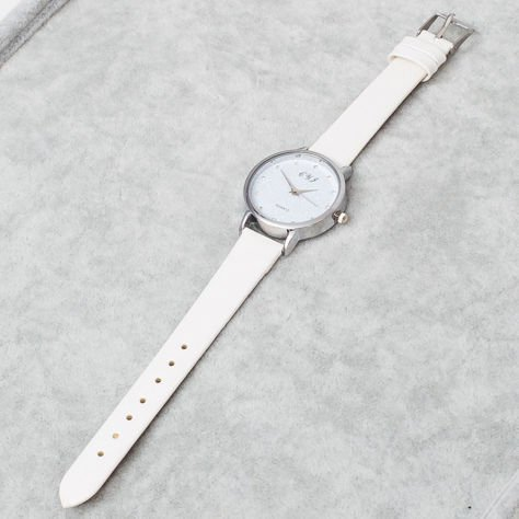 Biały Zegarek Damski z Ozdobną tarczą                              zdj.                              5