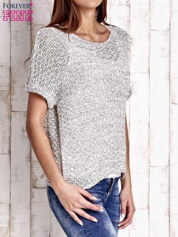 Biały ażurowy sweter z metaliczną nicią                                  zdj.                                  3
