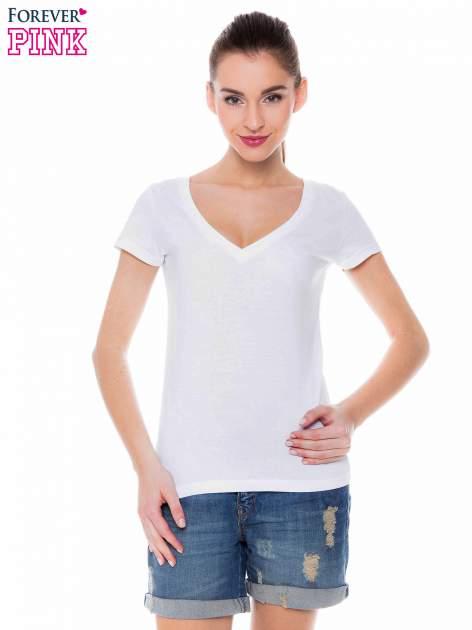 Biały basicowy t-shirt z dekoltem w serek