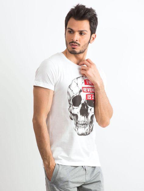 Biały bawełniany t-shirt męski z printem                              zdj.                              3