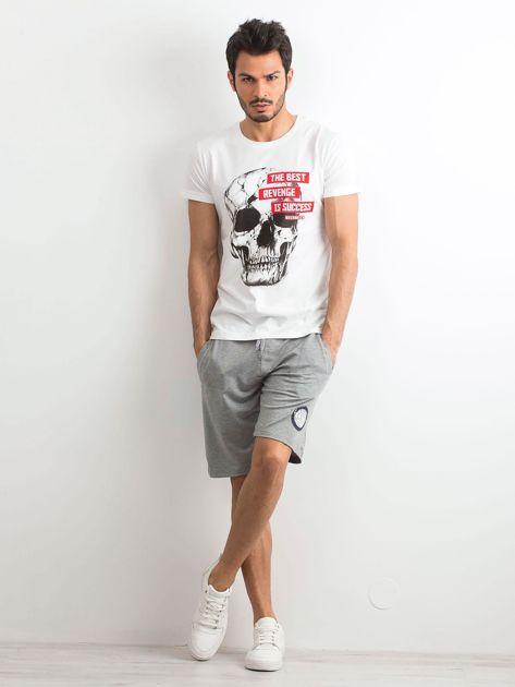 Biały bawełniany t-shirt męski z printem                              zdj.                              4