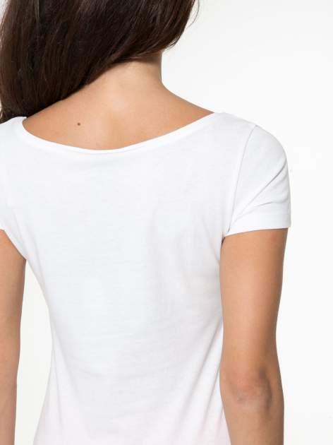Biały bawełniany t-shirt z nadrukiem tekstowym WAKE UP WORK OUT                                  zdj.                                  10
