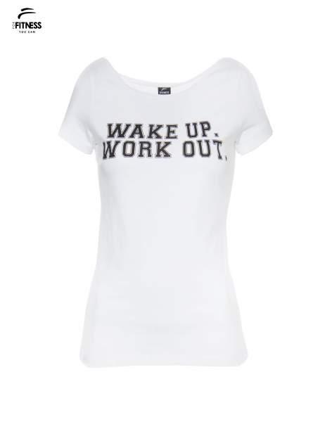 Biały bawełniany t-shirt z nadrukiem tekstowym WAKE UP WORK OUT                                  zdj.                                  2