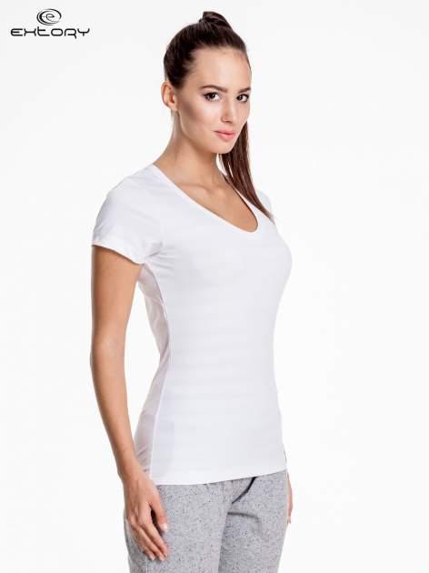 Biały damski t-shirt sportowy PLUS SIZE                                  zdj.                                  3