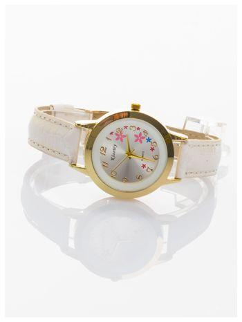 Biały delikatny damski zegarek z motywem kwiatowym na tarczy                                  zdj.                                  2