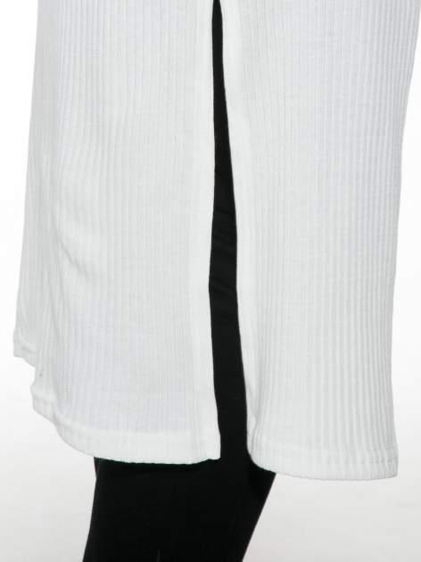 Biały długi prążkowany sweter kardigan                                  zdj.                                  7