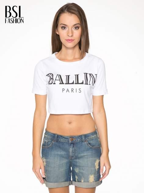 Biały krótki t-shirt przed pępek z napisem BALLIN PARIS                                  zdj.                                  1