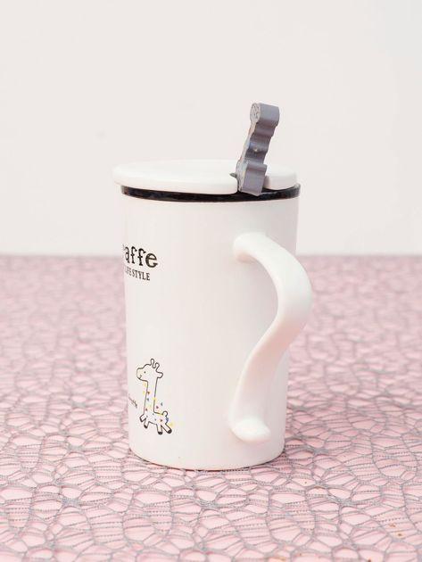 Biały kubek ceramiczny z pokrywką                              zdj.                              4