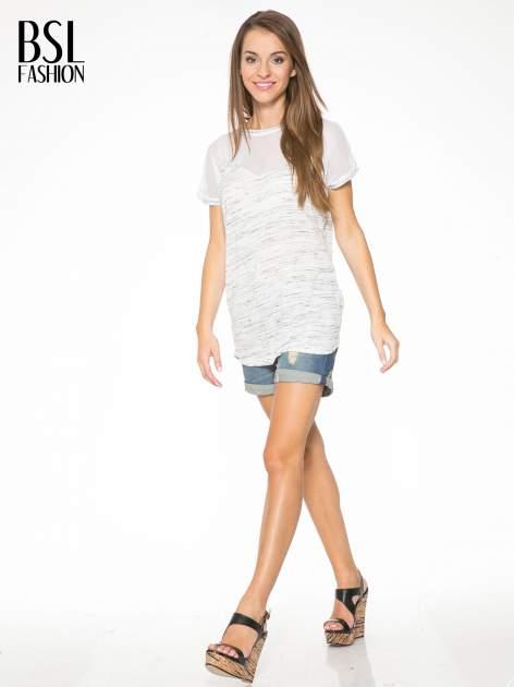 Biały melanżowy t-shirt z transparentną górą                                  zdj.                                  5