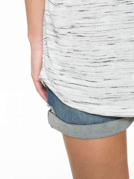 Biały melanżowy t-shirt z transparentną górą                                  zdj.                                  11