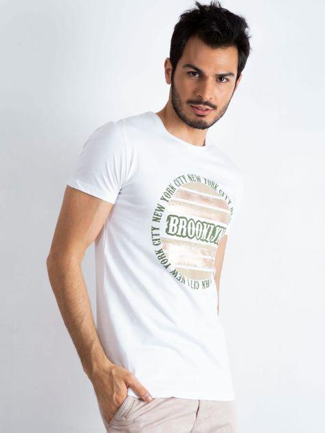 Biały męski t-shirt Brooklyn