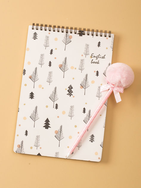 Biały notatnik z nadrukami