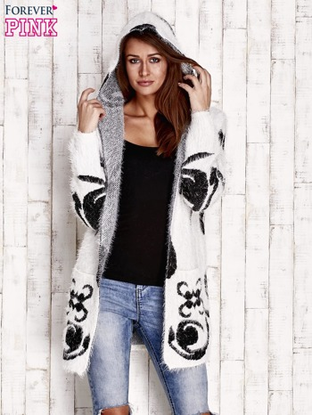 Biały otwarty sweter z kapturem                                  zdj.                                  5