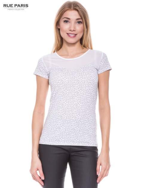 Biały panterkowy t-shirt z transparentnym karczkiem