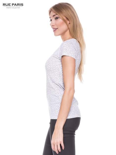 Biały panterkowy t-shirt z transparentnym karczkiem                                  zdj.                                  2