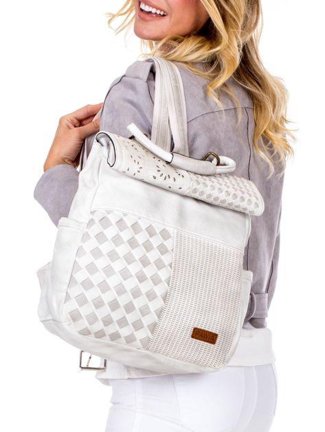 Biały plecak damski z eko skóry z plecionką i ażurowaniem                              zdj.                              1