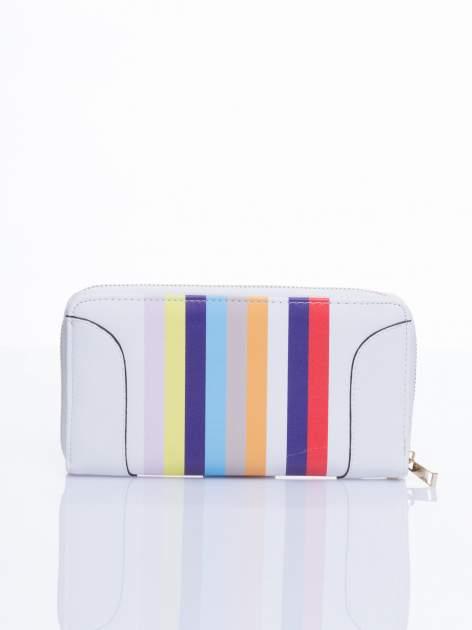 Biały portfel w paski z kieszonką                                  zdj.                                  1