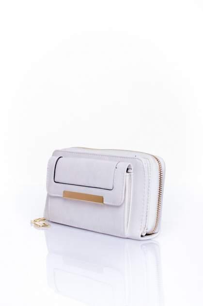 Biały portfel z kieszonką ze złotym elementem                                  zdj.                                  3