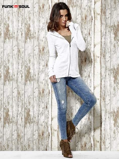Biały sweter z kapturem zasuwany na suwak Funk n Soul                                  zdj.                                  2