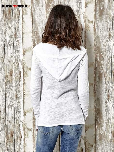 Biały sweter z kapturem zasuwany na suwak Funk n Soul                                  zdj.                                  4