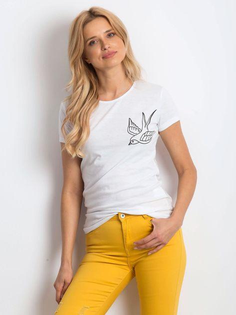 Biały t-shirt Birdy                              zdj.                              1