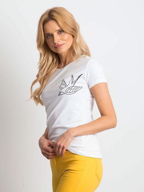 Biały t-shirt Birdy                              zdj.                              3