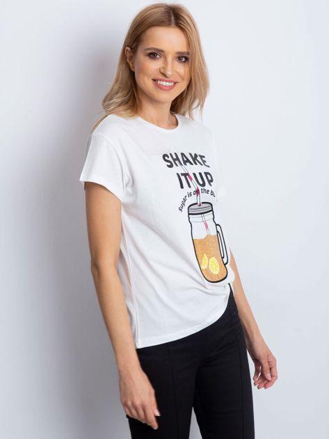 Biały t-shirt SHAKE IT UP                                  zdj.                                  3