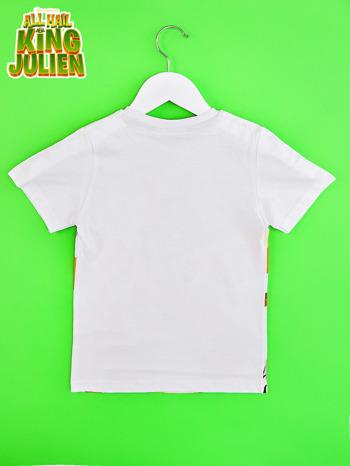 Biały t-shirt chłopięcy z nadrukiem KRÓL JULIAN                                  zdj.                                  2