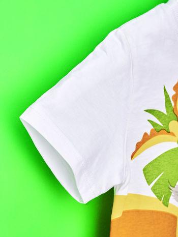 Biały t-shirt chłopięcy z nadrukiem KRÓL JULIAN                                  zdj.                                  6