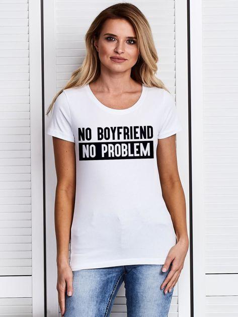 Biały t-shirt damski NO BOYFRIEND NO PROBLEM                                   zdj.                                  1