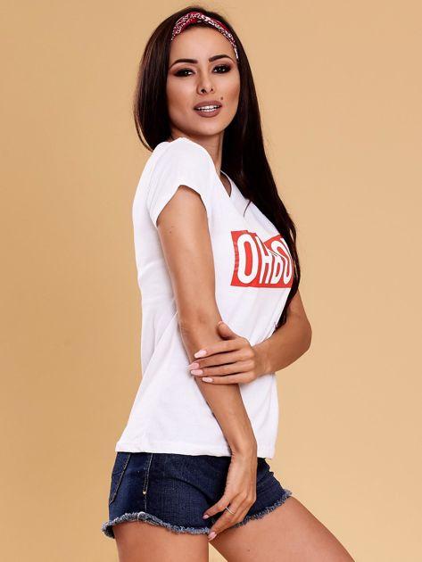 Biały t-shirt damski OH BOY                              zdj.                              6