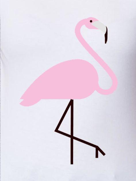 Biały t-shirt damski z motywem flaminga                              zdj.                              2
